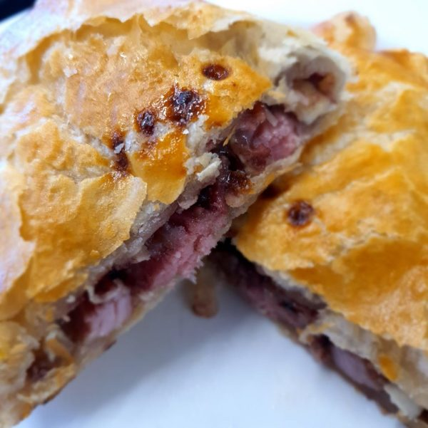 Ham and brie pasty